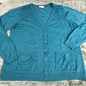 Modcloth Solid Blue Cardigan Plus 1X